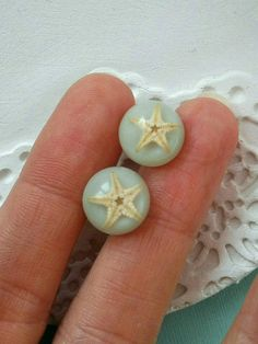 Real Starfish Resin Studs Earrings. Aqua Beach Ocean Marine Sea Star Mermaid Earrings Children Tiny Girl Earrings Cute Summer Birthday Gift by MyJewelsGarden Pressed Flowers Jewelry by Myjewelsgarden <3