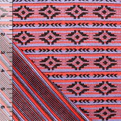 Red Navajo Jaquard Stripe Two Sided Cotton Jersey Knit Fabric