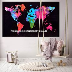 World Map Poster Rectangle Indian Tapestry Bedroom Home Decor Wall Hanging Art World Map Tapestry, Mandala Tapestry, Handmade Wall Hanging, Tapestry Wall Hanging, Wall Hangings, Ceiling Decor, Wall Decor, Color World Map, Royal Art