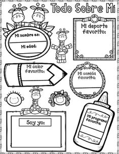 Todo sobre mi is a great way to get rid of the first day jitterz for the elementary grades. This Spanish All About Me is a great way to get to know your kids. Have them color and fill it out, put them outside your door, in the hallway, or around your Spanish Classroom Door, Spanish Classroom Activities, Spanish Teaching Resources, First Day Of School Activities, Spanish Songs, Learn Spanish, All About Me Poster, Spanish Lessons For Kids, Spanish Projects