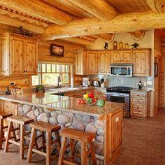Rustic Cabin Kitchens, Log Home Kitchens, Rustic Kitchen Design, Log Cabin Bathrooms, Country Kitchens, Small Log Homes, Small Log Cabin, Log Cabin Homes, Log Cabin Living