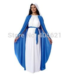 Adulto biblia monjas virgen maría vestidos 2014 nueva llegada Classic disfraces de Halloween maquillaje navidad Cosplay