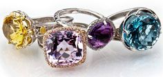 We have Tacori fashion rings in amethyst, turquoise, onyx, smokey quartz, and several other gemstones!