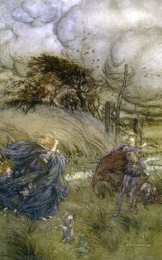 """And now they never meet in grove or green, / By fountain clear...  """"A Midsummer-Night's Dream"""" (1908) illustrated by Arthur Rackham (Act II, Scene I)."""
