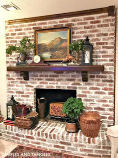 Best Free of Charge whitewash Brick Fireplace Concepts Fireplace Makeover Tutorial White Wash Brick Fireplace, Painted Brick Fireplaces, Fireplace Update, Paint Fireplace, Brick Fireplace Makeover, Farmhouse Fireplace, Home Fireplace, Fireplace Design, White Wash Brick Exterior