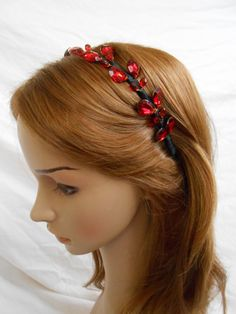 Faux Ruby Jeweled Headband Red Rhinestone Crown Tiara Beaded Headpiece Prom Bridal Wedding Halo Hair Accessory Red Black Vamp Goth Hairband on Etsy, $19.95