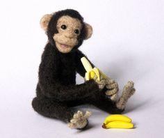 Charming Needle Felted Miniature Chimpanzee by DinkyWorld at Etsy