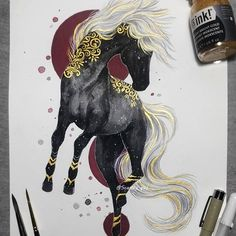 Did quite complicated pose haha I know it's not perfect but was super fun to do anyways! Animal Drawings, Art Drawings, Dessin Old School, Mythical Creatures Art, Desenho Tattoo, Art Graphique, Horse Art, Animes Wallpapers, Dark Art