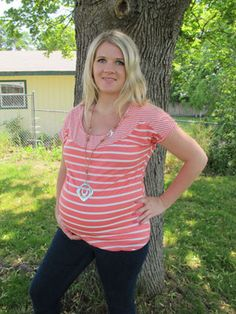 $24 www.flybelly.com Claire Top in Coral by Lavish Maternity - Maternity Clothing - Flybelly Maternity Clothing