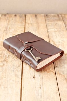 Brown Leather Journal with Antique Skeleton Key by wayfaringart