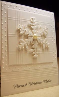 Snowflake white on white Christmas card. So elegant and beautiful!