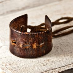 Distressed Brown Leather Cuff Reconstructed Revamped by rainwheel, $50.00 #handmade #vintage #etsy