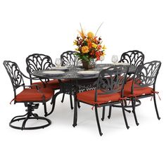 Valencia Cast Aluminum 7 Piece Dining Set - Leaders Casual Furniture