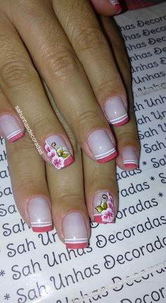 76 Modelos Lindos de Francesinhas com Flores! Veja: Manicure E Pedicure, Mani Pedi, One Stroke Nails, Floral Nail Art, Funky Nails, Simple Nails, Spring Nails, Flower Designs, Acrylic Nails