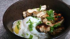 Grilled chicken and poached eggs over rice