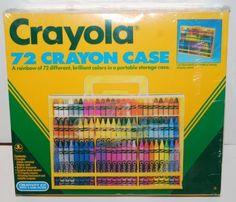 SEALED-Vintage-Crayola-72-Crayon-1989-Carrying-Display-Case-w-Sharpener