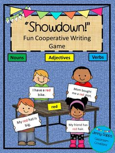 "Students will have fun and learn about self-management and teamwork using this exciting game of ""Showdown"" using noun, verb, and adjective cards to write a complete sentence. Great for small groups and Balance Literacy.   Includes:  Directions for game play  Anchor Chart for Noun, Verb, and Adjective  28 colored cards  28 black and white cards"