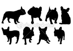 Vector silhouettes of french bulldogs — Stock Illustration #24927717