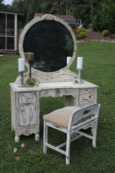 Shabby Chic Vanity from Vintage Vision in Hudson, NC. www.facebook.com/vintagevisionstore