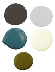 Great color scheme!  Woods  Rivers Color Scheme - We would use creamy white as a primary color and use that bold dark brown as a striking accent wall. Blue and green would come in through textiles like rugs and pillows while soft gray would pop on a sofa and chair.