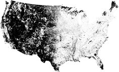 Hello there, friend. I'm the country! That's me in black: Every U.S. 2010 Census block with less than one resident per square mile. I freckle the East, define the West, and blanket icy Alaska almost in its entirety. All in all, stateside, just under 155,000 people live in my 2,120,000 square miles: 0.05% of the total U.S. population spread across 60% of the land.