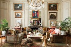 Architect Jorge Elias filled his 17,000-square-foot home in the Jardim Europa neighborhood of São Paulo with extraordinary antiques and images. An 18th-century Russian chandelier, vintage velvet sofas, Louis XV fauteuils, a gold-leafed Hand chair by Pedro Friedeberg, and artworks by Serge Poliakoff and Fernand Léger are among the eclectic mix in the living room | archdigest.com
