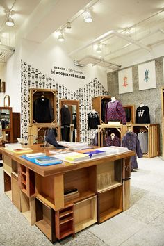 Retail Design | Fashion Display | Store Design | : seoul: wood wood  Use old kitchen drawers for display table.