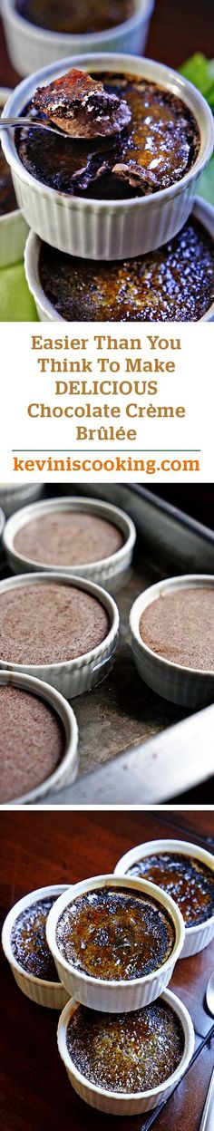 Chocolate Creme Brulee - This classic French dessert gets a kiss from cocoa powder for a rich, indulgent chocolate version. Mini Desserts, Chocolate Desserts, Just Desserts, Delicious Desserts, Dessert Recipes, Yummy Food, Plated Desserts, Fun Food, Dessert Ideas