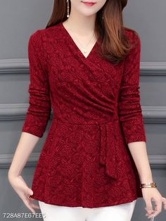 Casual Winter New Plushed and Thickened Bottom Women top Blouse Full Sleeve Blouse Large V-neck Purple tops Blouses Shirt