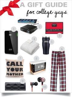 A gift guide for college guys college grad gifts, high school graduation gifts, college Gifts For College Boys, High School Graduation Gifts, College Student Gifts, Gifts For Boys, Graduation Ideas, Graduation Presents, Guy Gifts, College Students, Christmas Care Package