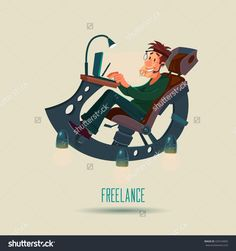 Man Working At Home, Freelancer, Cartoon Character Working From Home With Laptop Sitting In Fantastic Armchair, Home Office, Remote Work, Web Design, Vector Illustration - 429164902 : Shutterstock