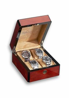 Great Gift Idea, the Venlo Four Watch Case Holder Triple Burlwood as seen on GrandLuxPens.com
