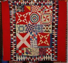 Outstanding 1890's Vintage Turkey Red Sampler Star Pinwheel Antique Quilt WOW
