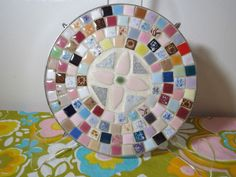 VTG 1960s MID Century Modern Ceramic Tile Mosaic Art Hot Plate Trivet Round Mosaic Art, Mosaic Tiles, Cheese Boards, Mid-century Modern, 1960s, Mid Century, Plates, Ceramics, Hot