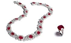 """Ruby Necklace with 19 oval """"pigeon's blood"""" Burma rubies weighing 34 carats total and 41 carats of colorless diamonds; Ruby Ring with a 10 carat cushion Mozambique ruby flanked by epaulet diamonds with diamond mircopave on the shank"""