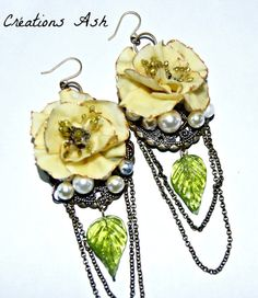 Beautiful Brass and Gold Earrings with Cold Porcelain Flowers by CreationsAsh on Etsy