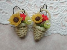 Flower Basket Earrings