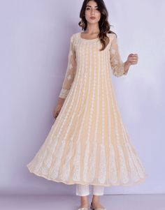 Beige Chikankari Anarkali Kurti Pants Set from the house of Mojari Flake. Featuring a pair of anarkali chikan kurta with cotton pant . It has a rounf neck and sleeves . Fabric is georgette and pant fabric cotton Party Wear Indian Dresses, Dress Indian Style, Indian Fashion Dresses, Fashion Wear, Indian Outfits, Stylish Dress Designs, Stylish Dresses, Stylish Outfits, Anarkali Kurti