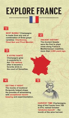 5 Quick facts about French wine. Learn more at our Guide to Wine (click the pin).