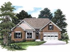 Cottage House Plan with 1342 Square Feet and 3 Bedrooms(s) from Dream Home Source | House Plan Code DHSW04253