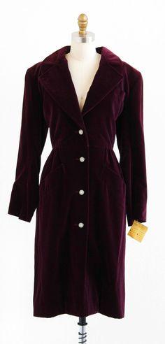 vintage 1970s Yves Saint Laurent coat | plum velvet + rhinestone buttons | www.rococovintage.com