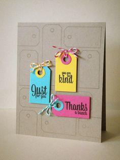 Colorful tags on kraft by three umbrellas: Avery Elle + Imagine Crafts/Tsukineko Blog Hop