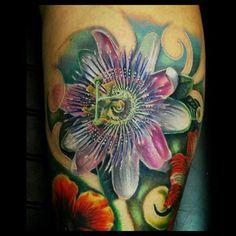 Passion flower tattoo, exotic flower tattoo