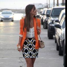 skirt with the orange blazar, love. i just can't wear orange.. :/