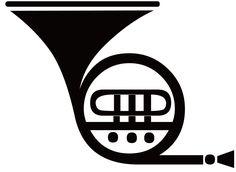 [フリーイラスト素材] クリップアート, ホルン, 金管楽器, 楽器, 音楽, 白黒, EPS ID:201503301400