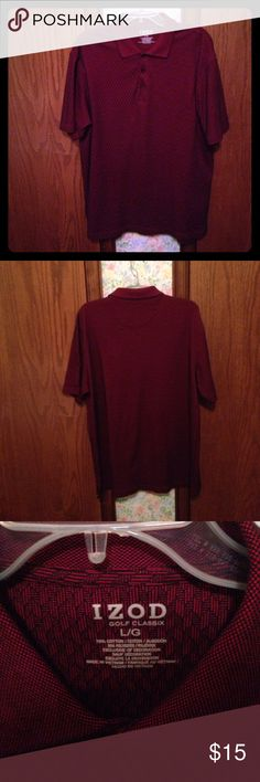 Maroon & Black Golf Shirt IZOD Golf Classix shirt. 70% Cotton 30% Polyester. Maroon with black design. Machine wash in cold water on gentle cycle. Tumble dry on low. Very soft. Very Good Condition. Izod Shirts Polos