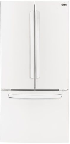 LG LFC24770SW 33 Inch French Door Refrigerator with 23.6 cu. ft. Capacity, 4 Spillproof Cantilevered Glass Shelves, Gallon Door Storage, 2 Humidity Controlled Crisper Drawers, Glide n Serve Drawer, Smart Cooling System, Ice Maker and ENERGY STAR: Smooth White