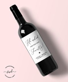 He Asked, And She Said Finally Custom Wine Label. by SpotswoodDesigns on Etsy Custom Wine Labels, Wine Bottle Labels, Engagement Party Decorations, Bridal Shower Decorations, Party Market, Party Express, Funny Gifts For Friends, Wedding Wine Labels, Gift Box Design