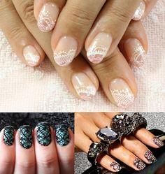 White lace wedding nails