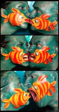 Kissing Fish -- I did this for kids at a face-painting booth.  Of course, they didn't do the kissing thing, but they liked pretending to fish-bite people.